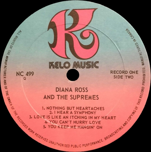 "Diana Ross & The Supremes : Album "" Greatest Hits "" Kelo Music Records NU 9430 [ US ]"