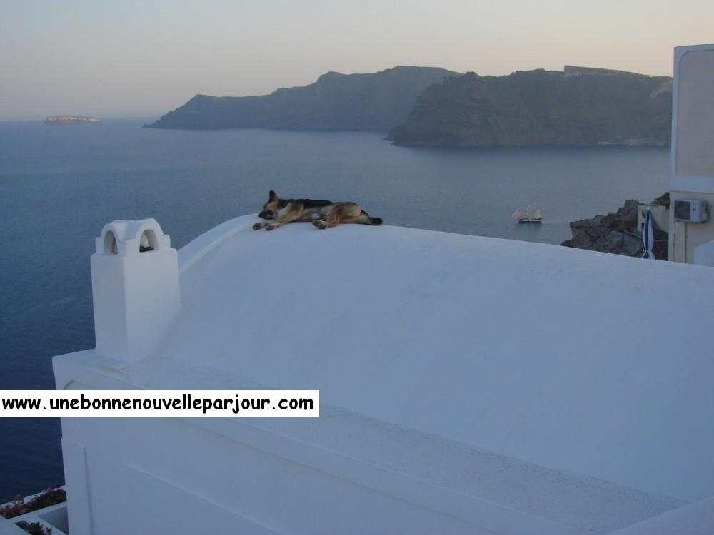 Coucher de soleil à Oia, île de Santorin...