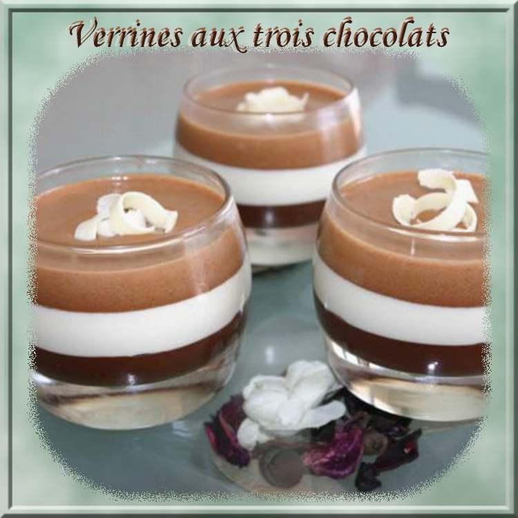 Recette de cuisine : Verrines aux trois chocolats
