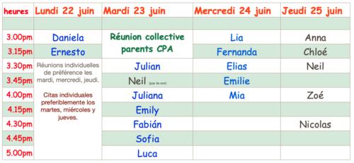 Réunion parents CPA mardi 23 juin 15h