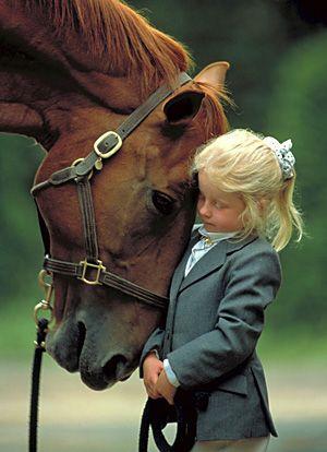 cheval et enfants - horse and kid+