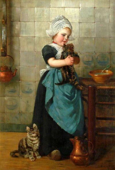 Tableau de chat : Fille avec des chatons