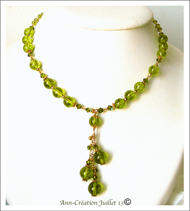 Collier Grappe Quartz vert péridot, Péridot / Plaqué Or Gold Filled