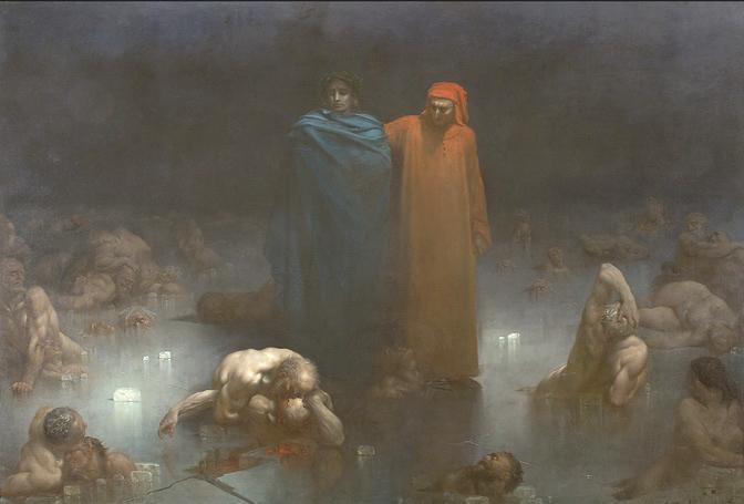 Dante et Virgile au IXème cercle de l'Enfer
