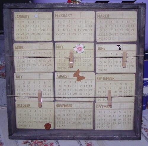 calendrier en scrap (atelier médiathèque)