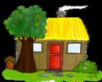 Dessin des lieux du conte - La maison ou la chaumière
