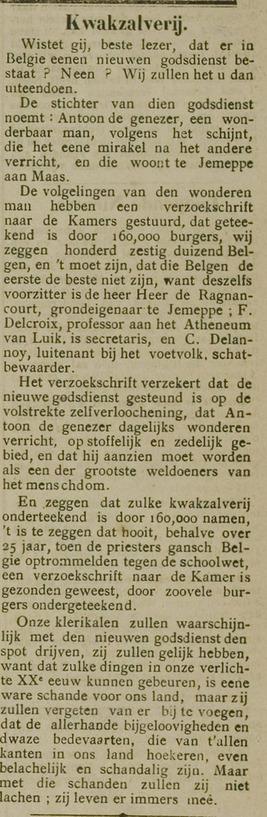 Kwakzalverij (De Volksgazet 1 januari 1911)
