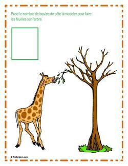 Activité numération : « Combien de feuilles mange la girafe ? »