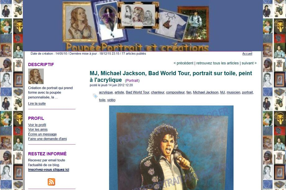 * Article Artblog N°8: MJ, Michael Jackson, Bad World Tour, portrait sur toile, peint à l'acrylique