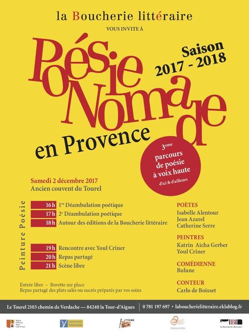 """Premier rendez-vous de """"Poésie nomade en Provence"""" 2017-2018"""