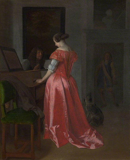 A Woman Standing at a Harpsichord, a Man Seated by Her by Jacob Ochtervelt, 1675-80 (probably), The National Gallery (London)
