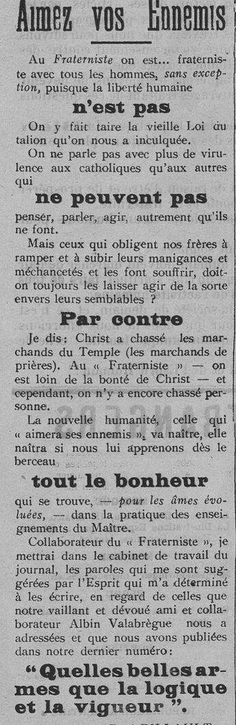 Aimez vos Ennemis (Le Fraterniste, 04 mai 1911)