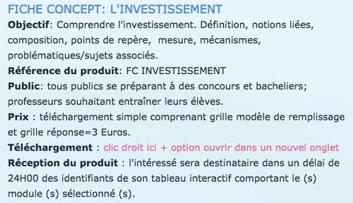 FICHE CONCEPT - L'INVESTISSEMENT