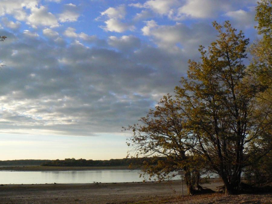 Coucher de soleil sur le lac du Der