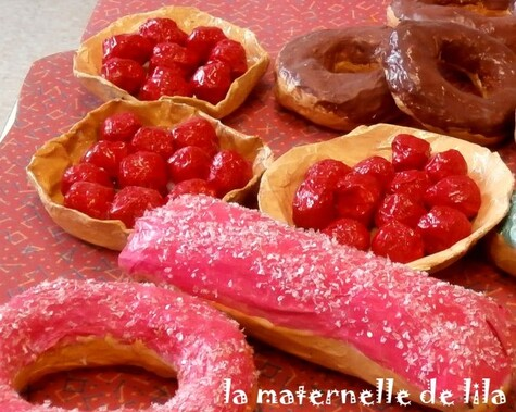 tartes eclairs donuts maternelle de lila