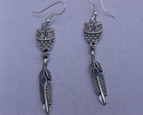 boucles d'oreilles chouettes et plumes