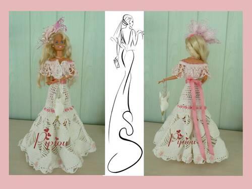 """Barbie au crochet .""""Lait / Fraise"""""""