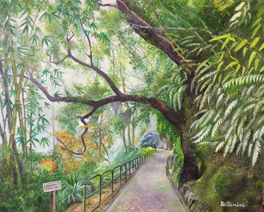 Tampon Parc des Palmiers (4/8)+Huile sur toile+Chanson Réunion