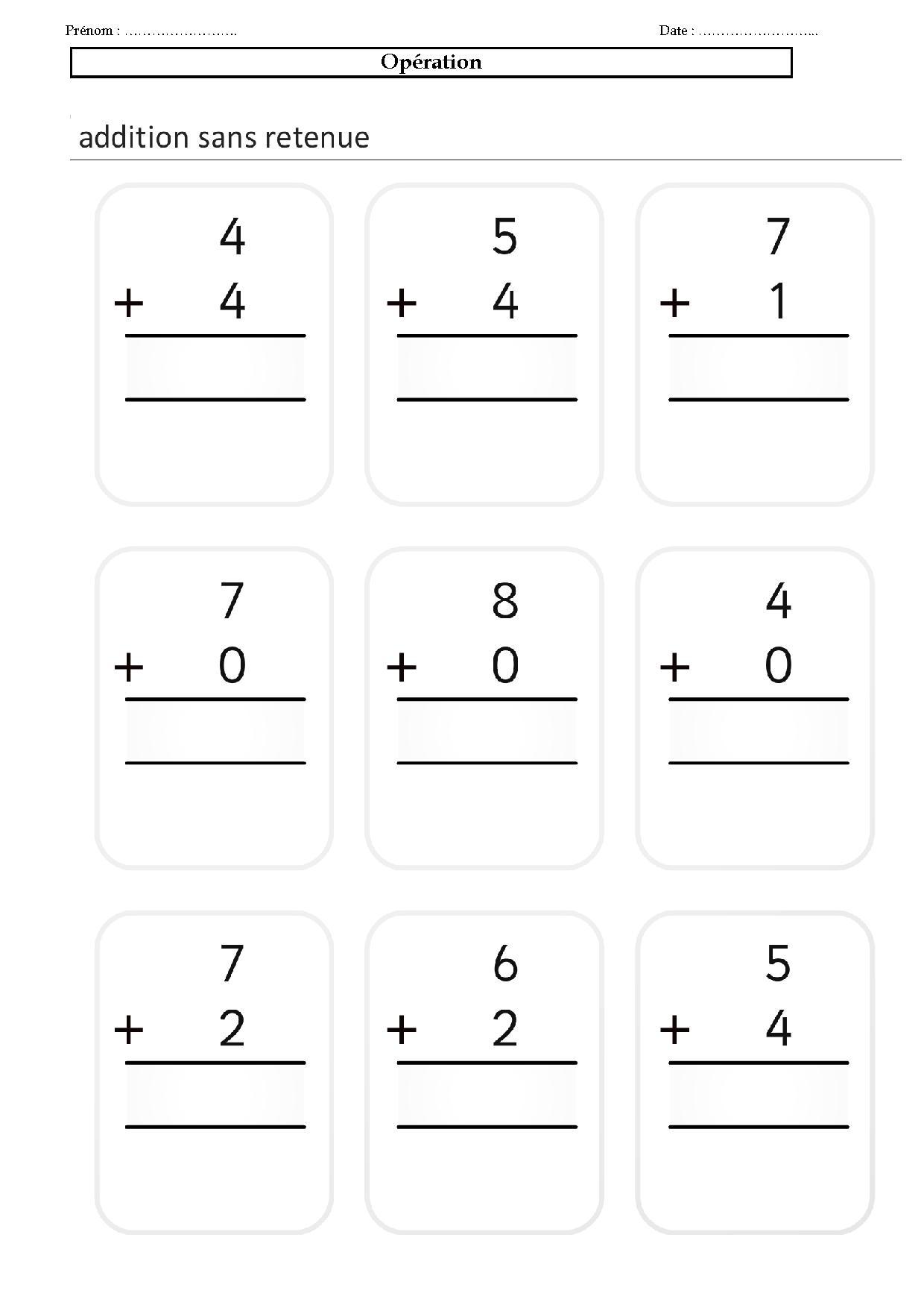Num ration ce1 ce2 poser et effectuer des op ration addition - Soustraction sans retenue ce2 ...
