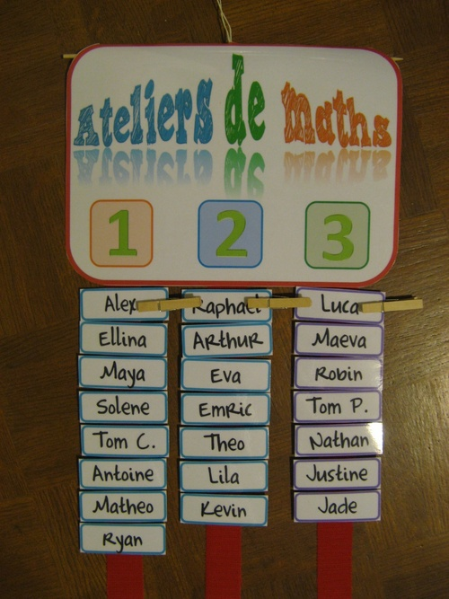 Affichage groupe ateliers maths