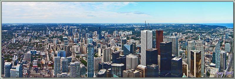 Vue de Toronto à partir à partir du Restaurant 360 de la CN Tower (351 m) - Ontario - Canada