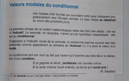 F / Les valeurs du conditionnel