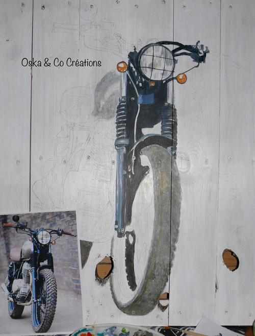 Moto peinte sur palette étape 1