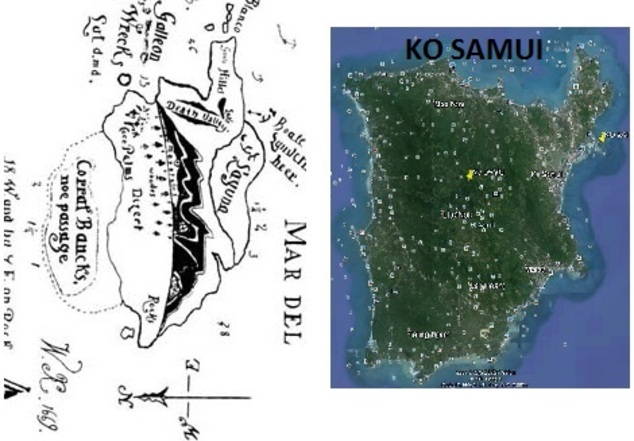 Voici le bouquet final concernant le nom de la vraie île au trésor des cartes N°5 et N°6 de KIDD.C'est l'île de KO SAMUI. (Photo Google Maps/ Google Earth) (Albert Fagioli)