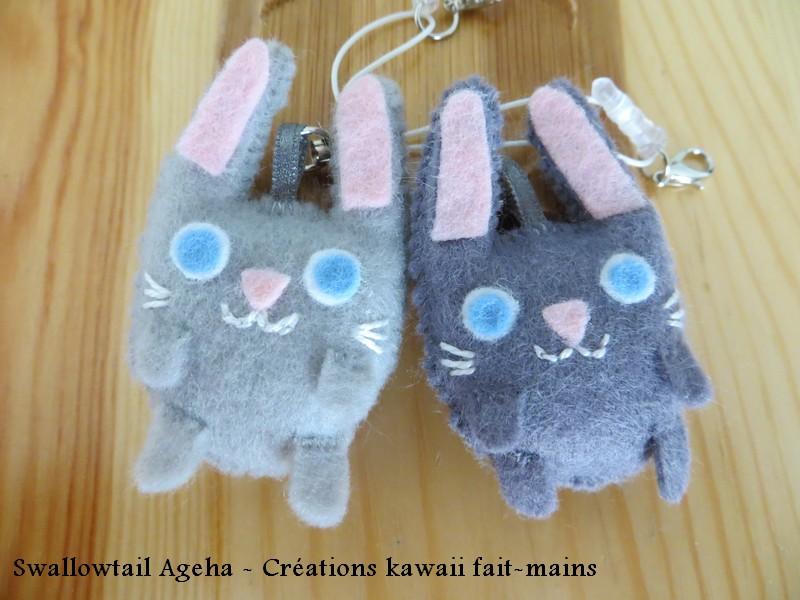 Mini lapins gris en feutrine