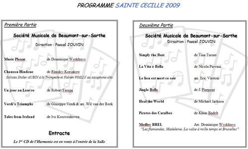 Programme Concert Sainte Cécile 2009
