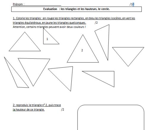 géométrie : évaluations