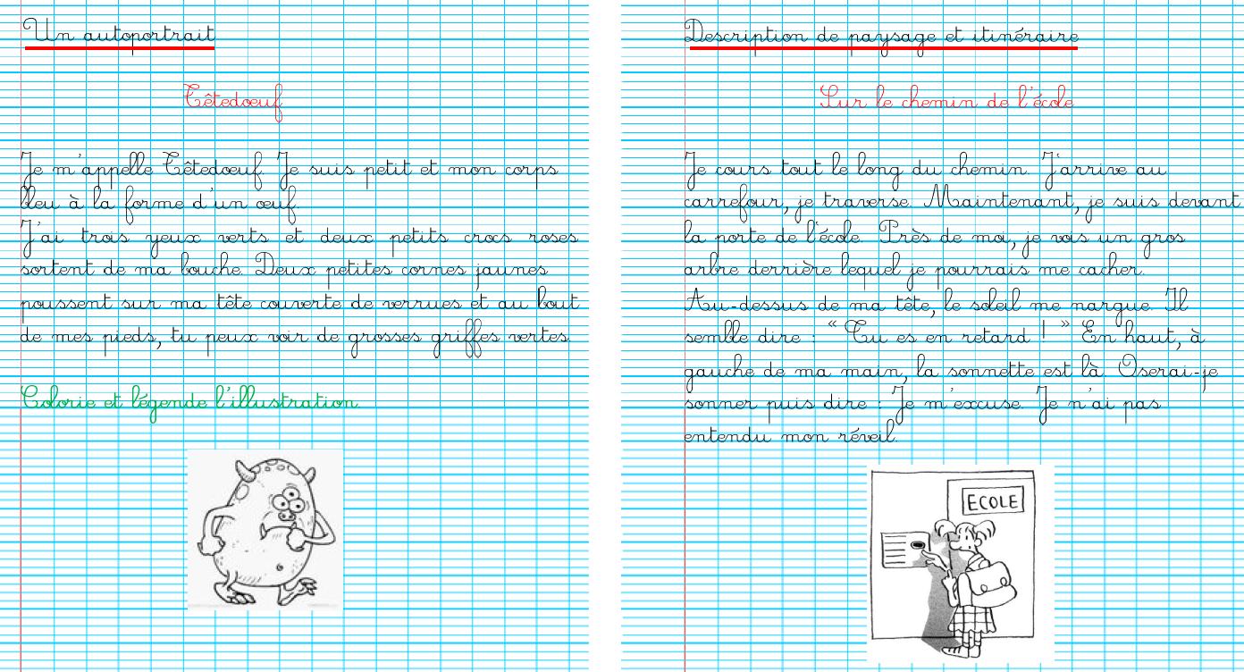 Cahier decriture /Écriture cursive Lart de bien Ecrire!