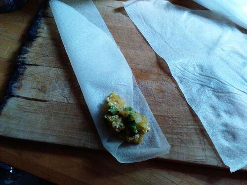 Samoussas pomme de terre/petit pois/curry {Vegan}