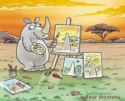 ▢ humour peintre rhinocéros