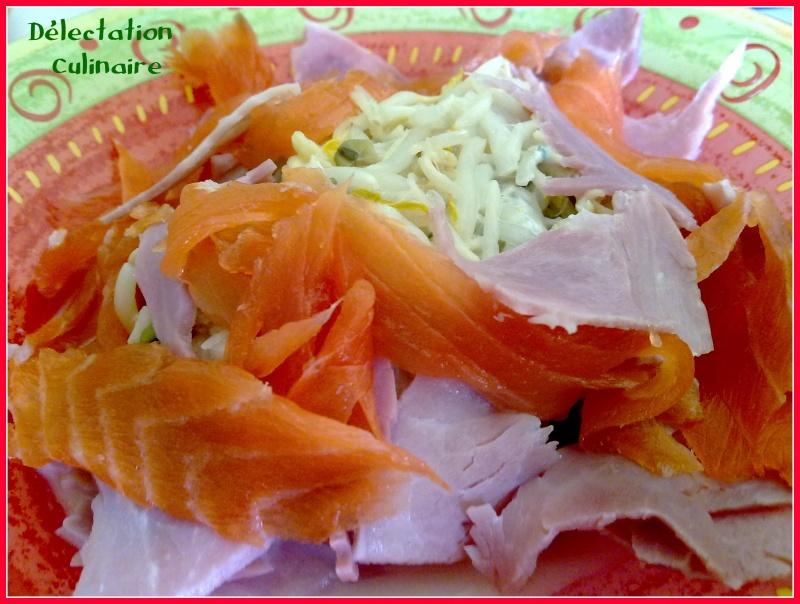 Haricots mungo au fromage ail et fines herbes, saumon et jambon ....