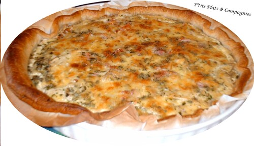 Quiche au poulet rôti,lardons,estragon et parmesan