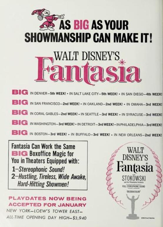 FANTASIA REISSUE BOX OFFICE USA 1963