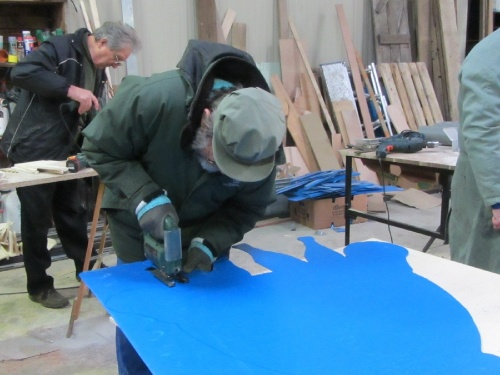 Les décors pour la Saint Vincent Tournante  de janvier 2013 continuent d'être confectionnés à Massingy chez Ghislain Brigand...