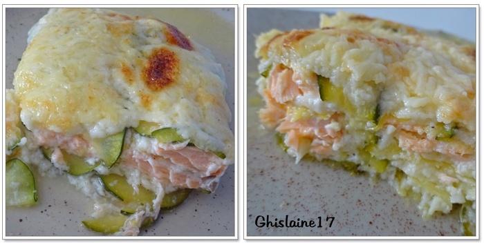 """""""Lasagnes"""" de courgettes au saumon"""