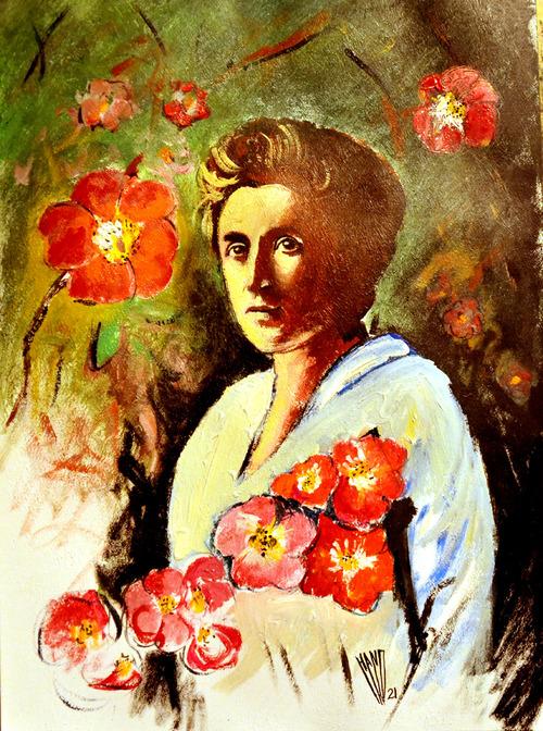 """"""" 1er Mai, fleur d'églantier, pour Rosa Luxembourg """" Acrylique sur papier 70X50"""