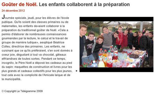 LE TÉLÉGRAMME - 24/12/2012 -Les enfants collaborent à la préparation.