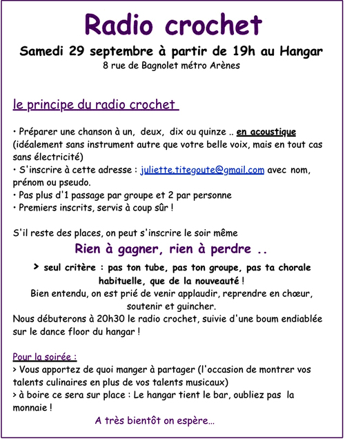 29 septembre : Radio-Crochet