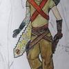 M -prothèse bras, test épée à deux mains