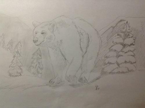Dessin du concours 'Animaux dans l'hiver'
