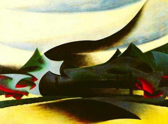 Giacomo Balla, Navire de guerre, Veuve et vent (Voile de Vedova et Paysage), 1916