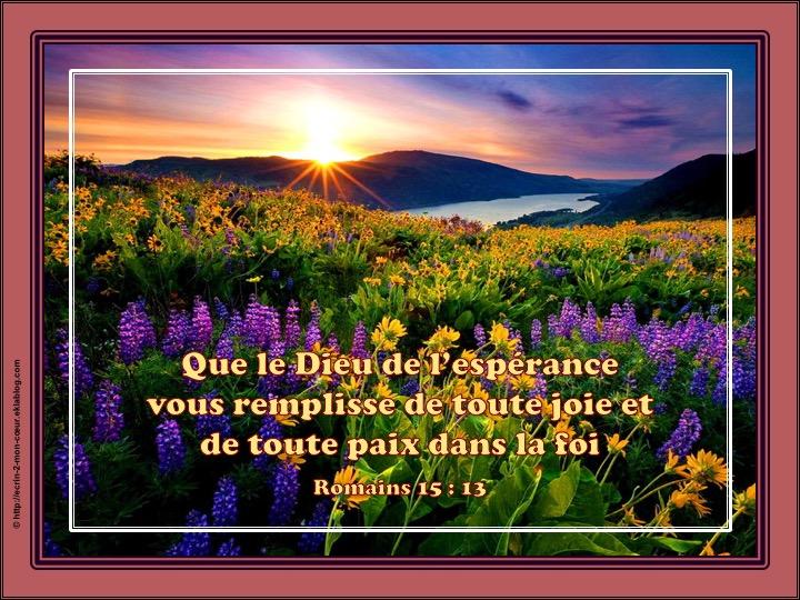 Joie et paix dans la foi - Romains 15 : 13