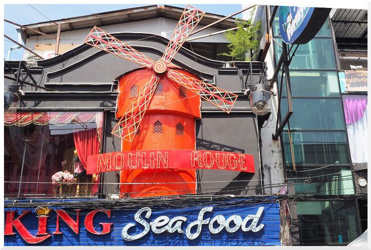 Cabarets, bars, rue, piétonne, pattaya, thaïlande,