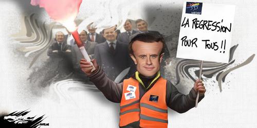 dessin de JERC du jeudi 05 Avril 2018 caricature Emmanuel Macron Qui est le bloqueur privilégié ? www.facebook.com/jercdessin @dessingraffjerc