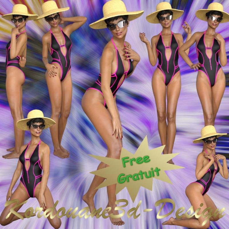 Femme en maillot de bain et chapeau de paille