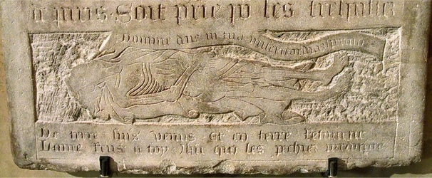 Nicolas Flamel, bas de la plaque funéraire